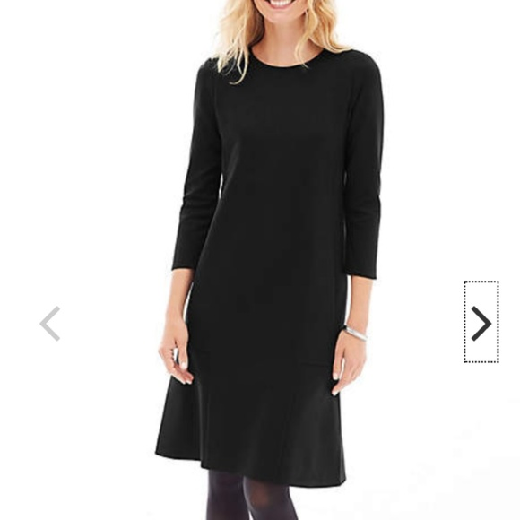99b822daeac J. Jill black ponte knit 3 4 sleeve seamed dress